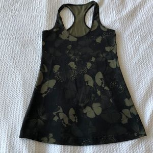 Lululemon green and black butterfly tank